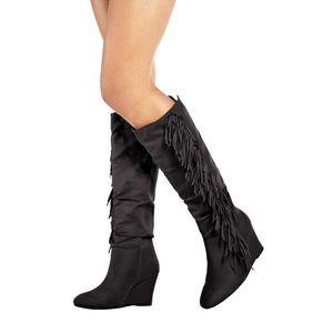 JUSTFAB Maxime fringe, black suede boot size 8